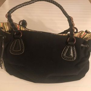 Fossil Black Shoulder Bag w/leather accents